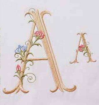 Virágos betűk hímzőminta